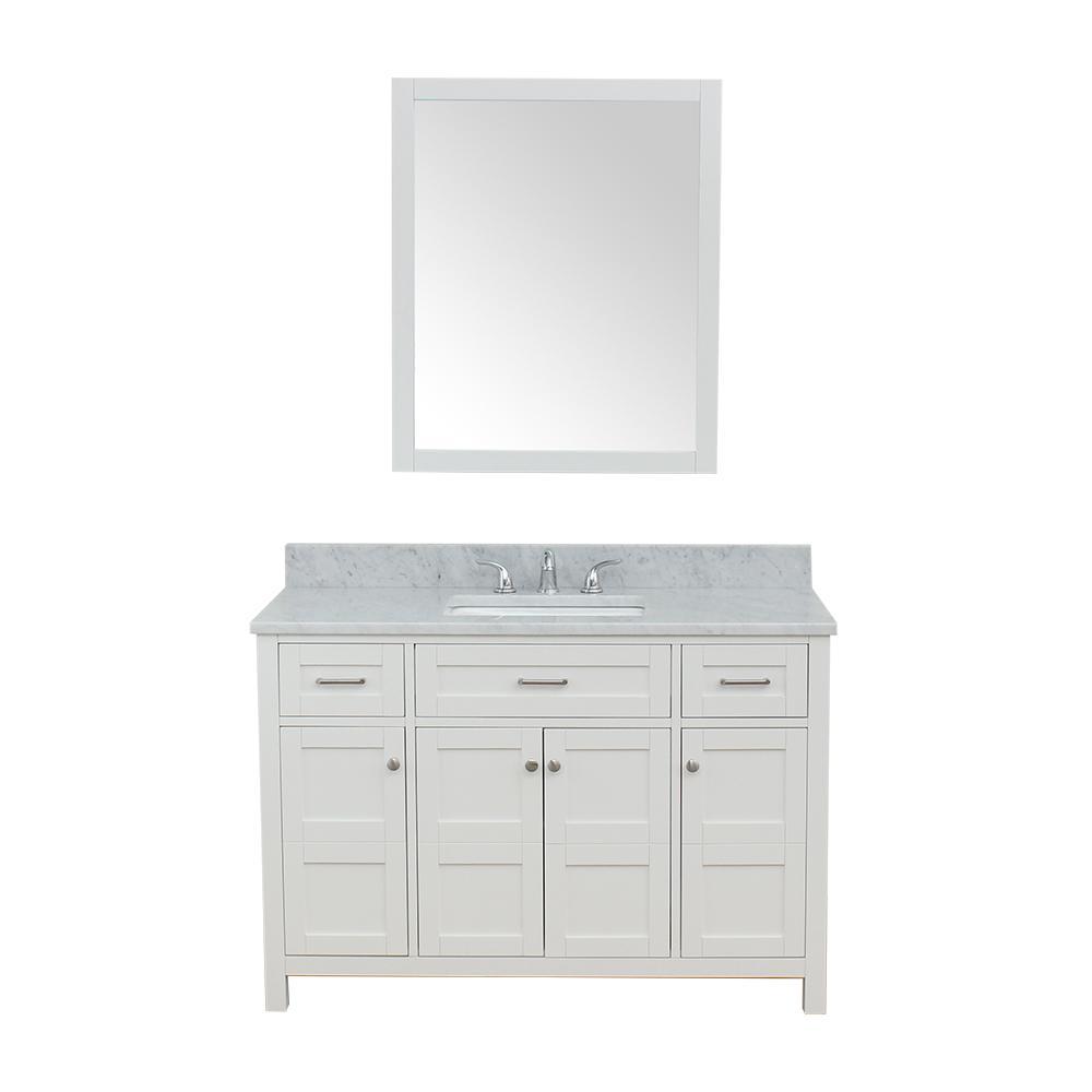 Vancouver 49 in. W x 22 in. D Bath Vanity in White with Marble Vanity Top in White with White Basin and Mirror