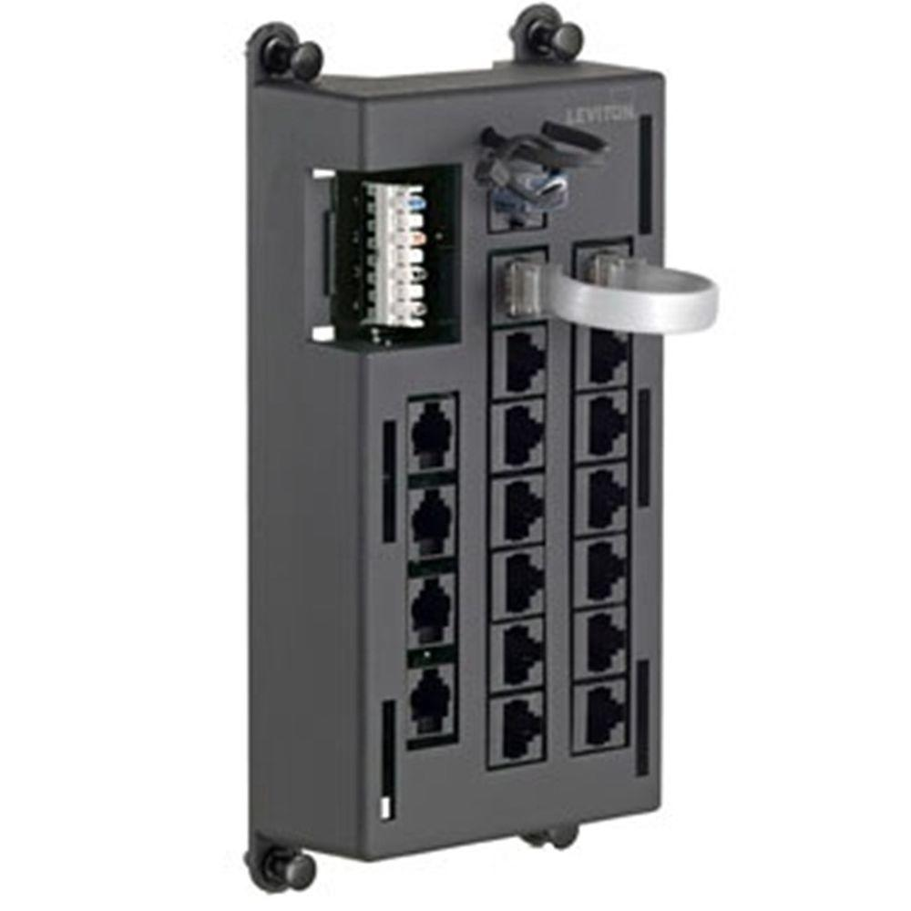 Leviton RJ11 Telephone Input Distribution Panel - Black