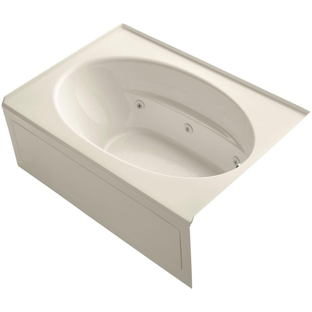 KOHLER Windward 5 ft. Acrylic Right Drain Oval Rectangular Alcove Whirlpool Bathtub in Almond