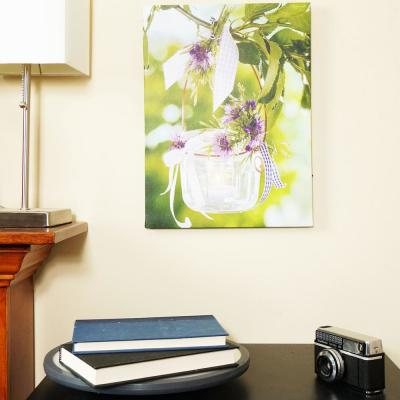 15.75 in. x 11.75 in. Tea Candle with Purple Flowers LED Lighted Canvas Wall Art