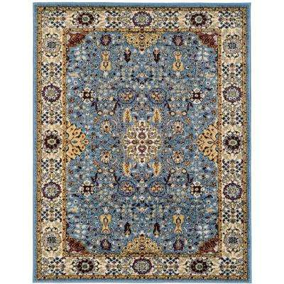 Scentasia Blue Bordered 5 ft. 1 in. x 7 ft. 6 in. Area Rug