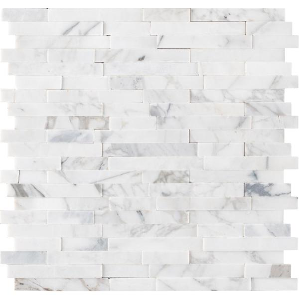 Msi Calacatta Marbella Peel And Stick 12 In X 12 In X 6 Mm Honed Marble Mosaic Tile 1 Sq Ft Pns Cmarbel 6mm The Home Depot