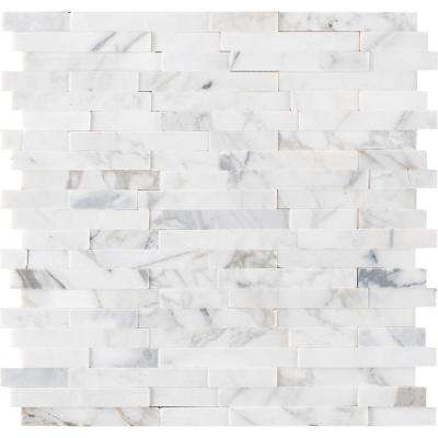 Calacatta Marbella Peel and Stick 12 in. x 12 in. x 6mm Honed Marble Mosaic Tile (15 sq. ft. / case)