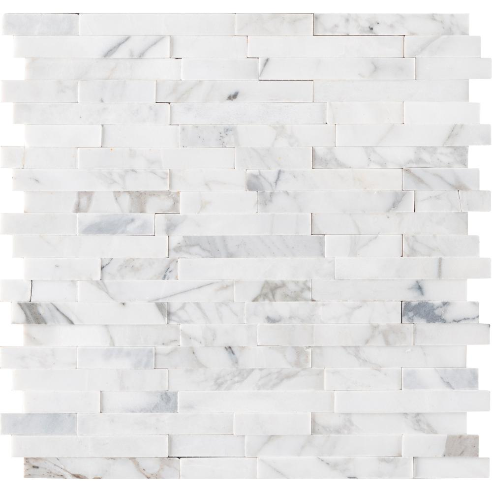 MSI Calacatta Marbella Peel and Stick 12 in. x 12 in. x 6mm Honed Marble Mosaic Tile