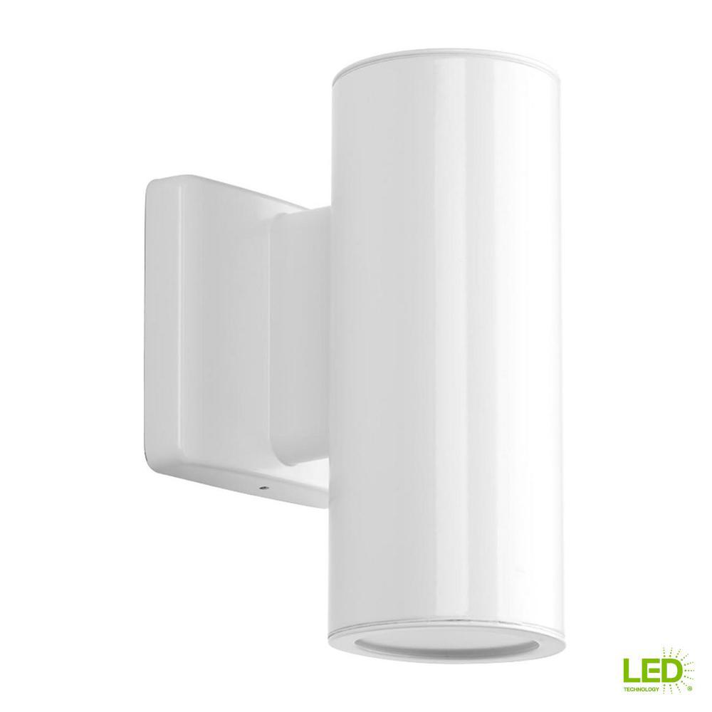 Cylinders Collection 2 Light White Integrated Led 8 25 In Outdoor Wall Mount Cylinder