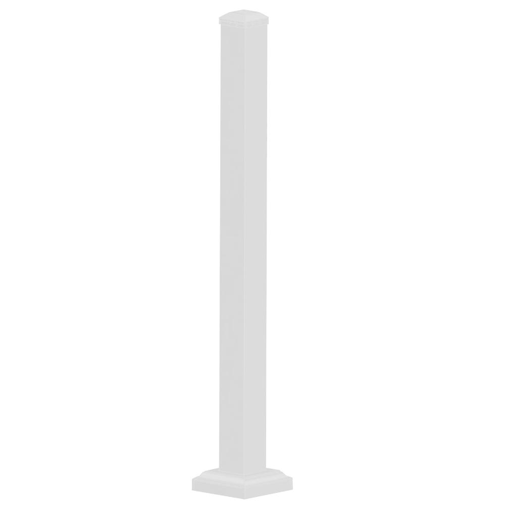 Weatherables 3 in. x 3 in. x 3-2/3 ft. Textured White Aluminum Post Kit
