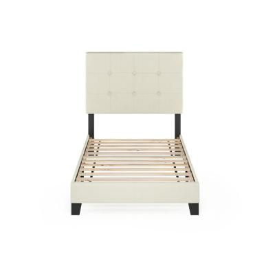 Laval Linen Twin Button Tufted Bed Frame