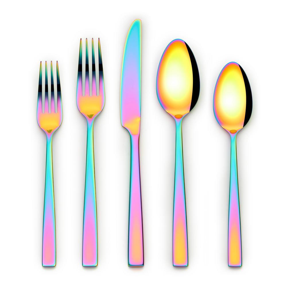 Kathryn 20-Piece Rainbow 18/0 Stainless Steel Flatware Set (Service for 4)