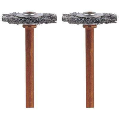 3/4 in. Stainless-Steel Wheel Brush for Steel, Aluminum, Silver or Pewter (2-Pack)