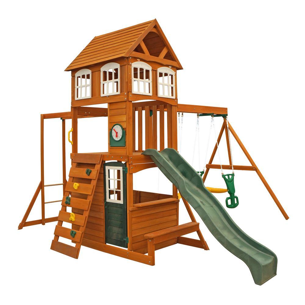 Kidkraft Cranbrook Wooden Swing Set F23870 The Home Depot