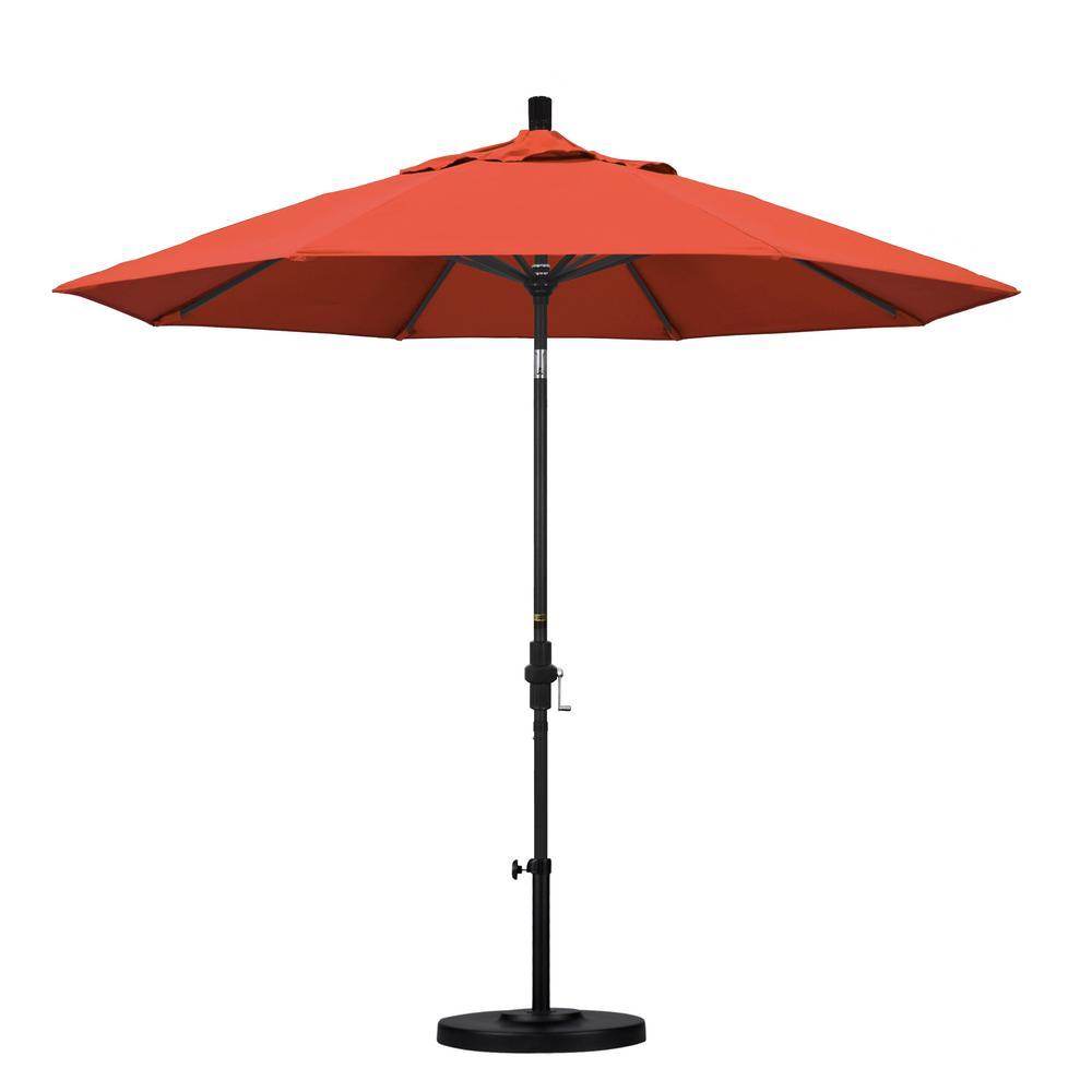 9 ft. Aluminum Collar Tilt Patio Umbrella in Sunset Olefin