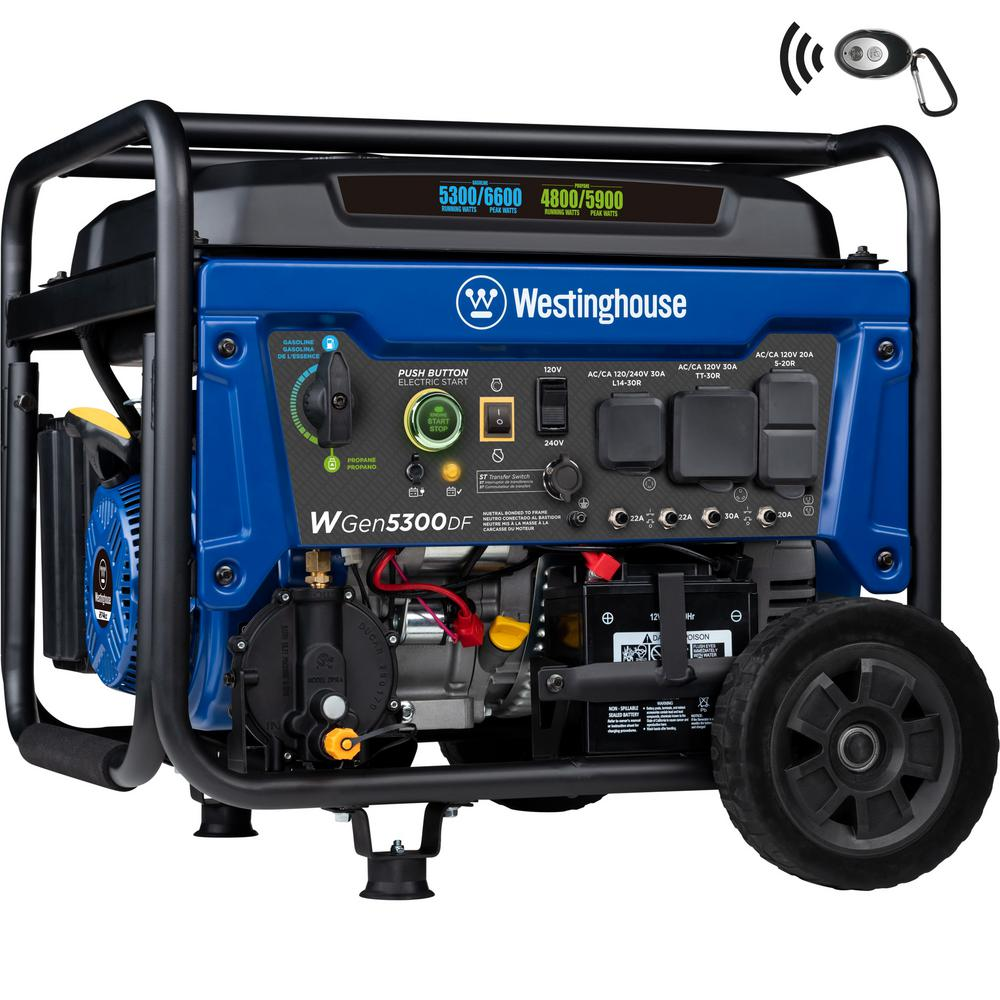 Westinghouse - WGen5300DF 6,600/5,300 Watt Dual Fuel Portable Generator w/ Remote Start, RV and Transfer Switch Outlet for Home Backup