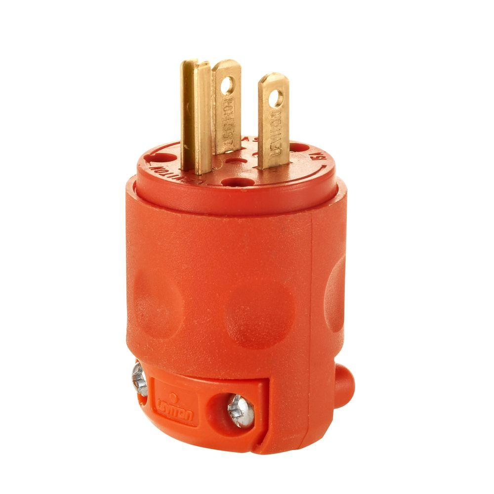 orange leviton plugs connectors r51 515pv 0or 64_1000 leviton 15 amp 125 volt 3 wire plug, orange r51 515pv 0or the NEMA 1-15 at bakdesigns.co
