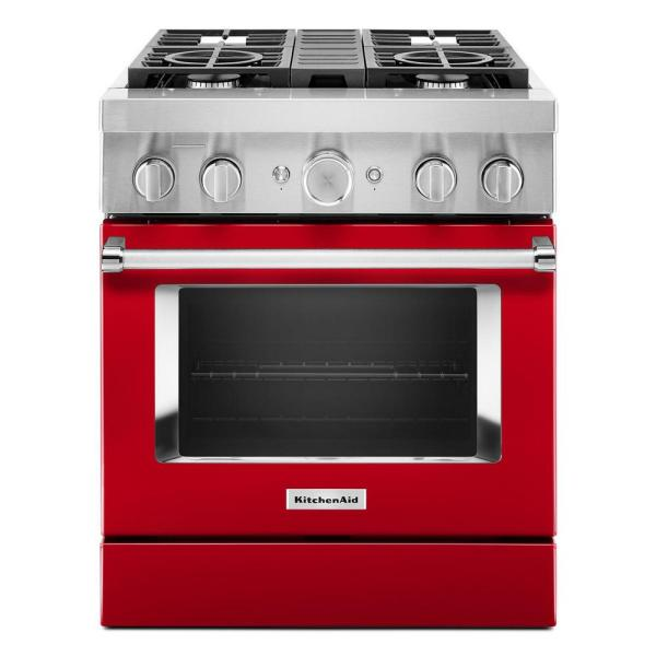 30 in. 4.1 cu. ft. Dual Fuel Freestanding Smart Range with 4-Burners in Passion Red