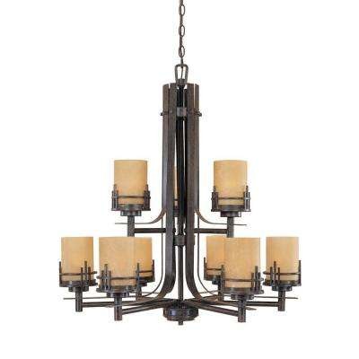 Mission Hills Collection 9-Light Warm Mahogany Hanging Chandelier