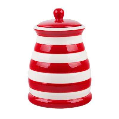 45 oz. Red and White Striped Ceramic Canister
