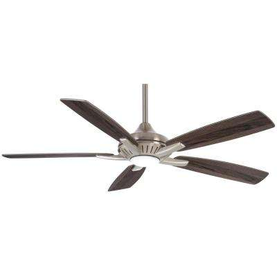 Dyno 52 in. Integrated LED Indoor Brushed Nickel with Silver Ceiling Fan with Remote Control