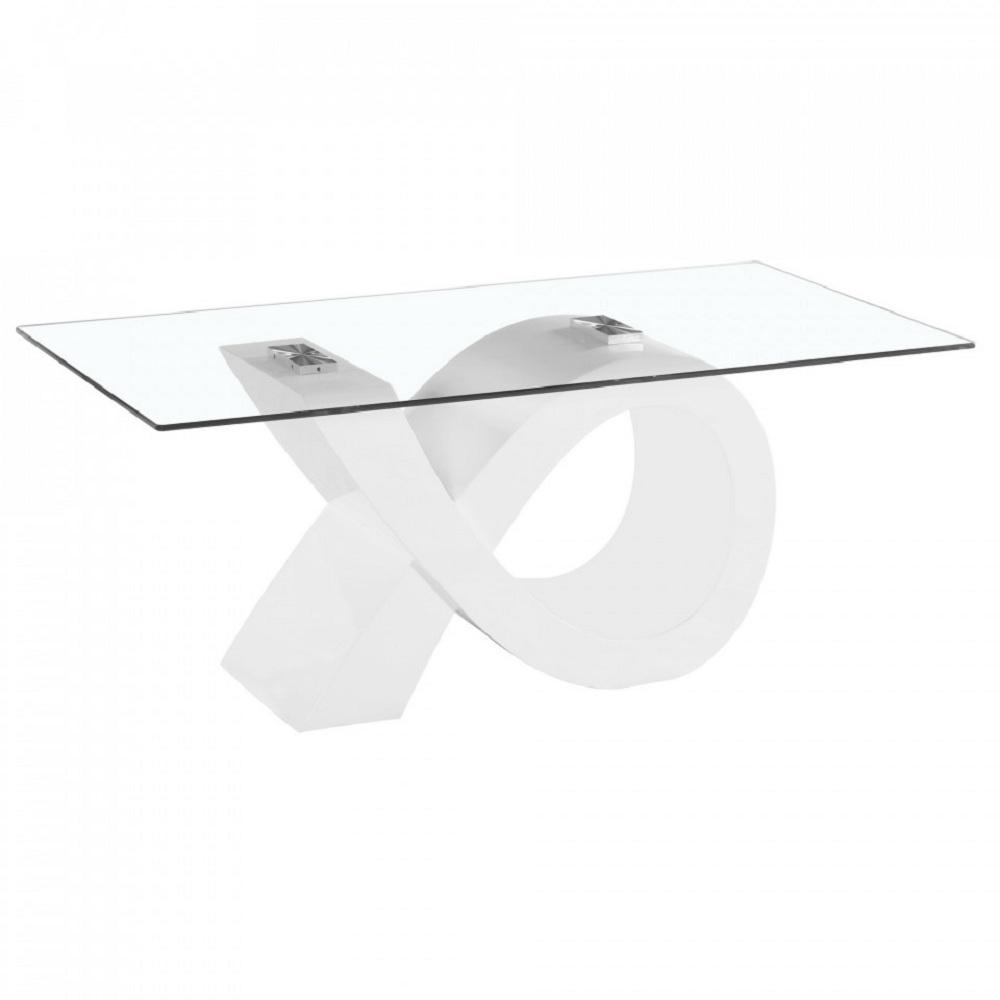 Fab Glass And Mirror Alpha Glass Coffee Table With White