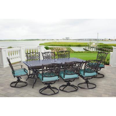 Traditions 9-Piece Outdoor Rectangular Patio Dining Set and 8 Swivel Dining Chairs with Blue Cushions
