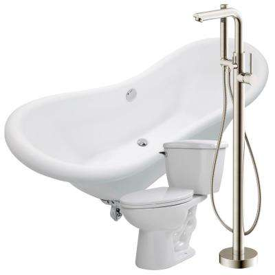 Aegis 68.75 in. Acrylic Clawfoot Non-Whirlpool Bathtub in White with Sens Faucet and Kame 1.28 GPF Toilet