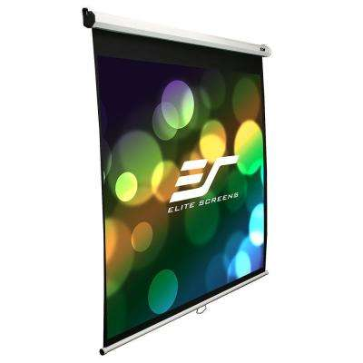 71 in. Manual Fiber Glass Backed Slow Retract Projection Screen with White Case