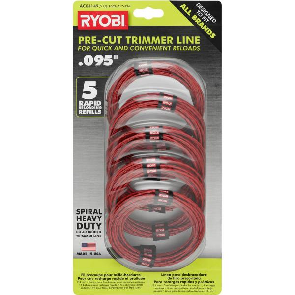 0.095 in. x 16 ft. Pre-Cut Spiral Line (5-Pack)