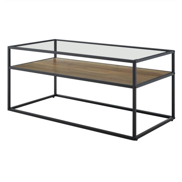 Walker Edison Furniture Company 40 In Rustic Oak Stone Gray Medium Rectangle Glass Coffee Table With Shelf Hd40swictrost The Home Depot