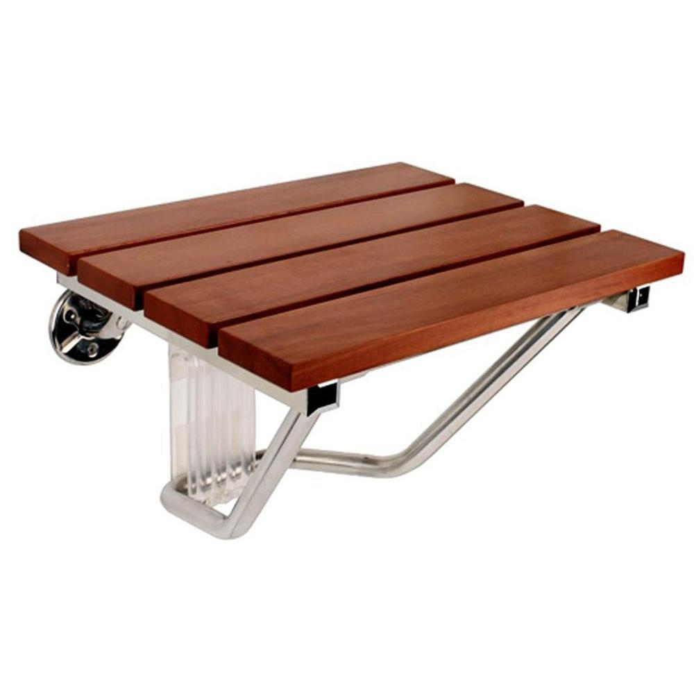 SteamSpa Teak Wood Wall-Mounted Shower Seat