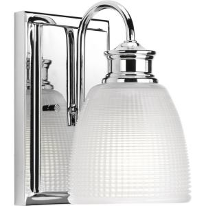 Lucky Collection 1-Light Polished Chrome Bath Sconce with Double Prismatic Frosted Glass Shade