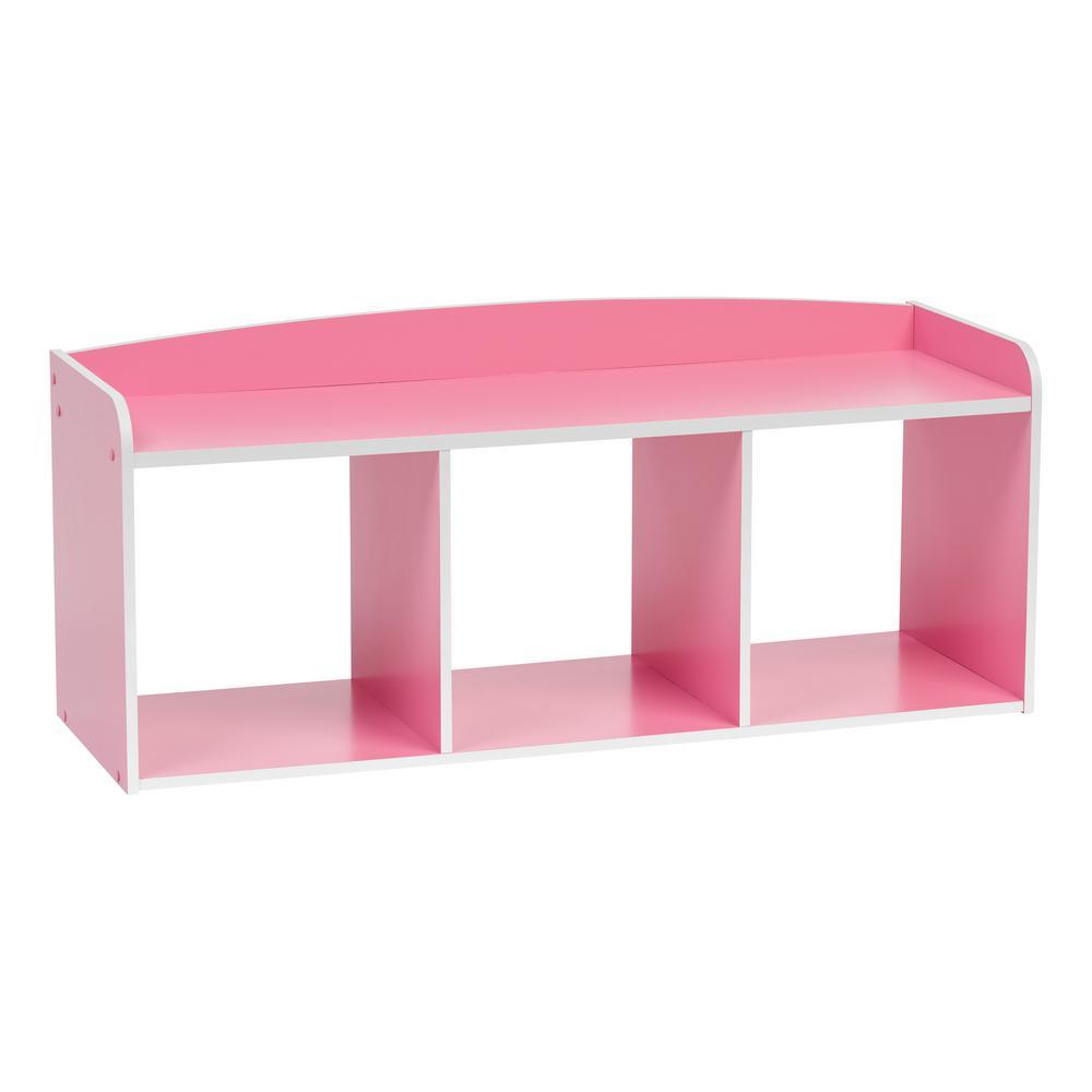 Kid's Pink Wooden Storage Bench