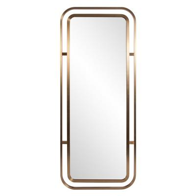 Oversized Rectangle Brushed Brass Hooks Modern Mirror (72 in. H x 30 in. W)