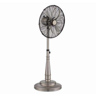Zach 18 in. Indoor Portable Fan in Satin Nickel