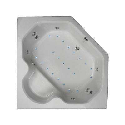 60 in. Acrylic Corner Drop-in Air and Whirlpool Bath Bathtub in Biscuit