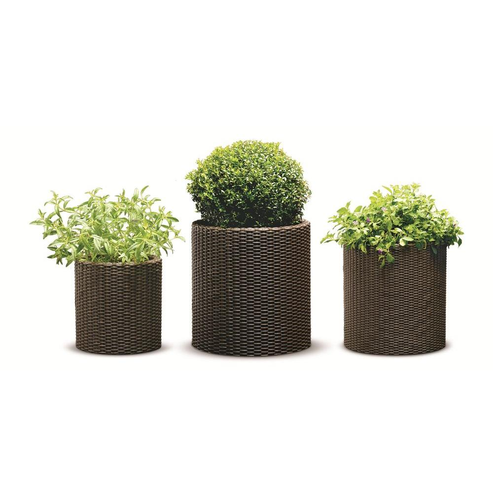 Keter Round Brown Rattan Resin Planters (Set of 3)-212171 - The Home ...