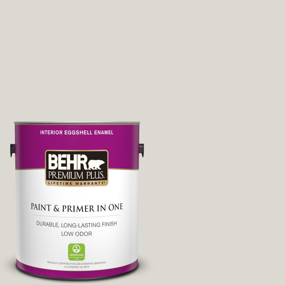 BEHR Premium Plus 1 gal. #790C-2 Silver Drop Eggshell Enamel Low Odor Interior Paint and Primer in One