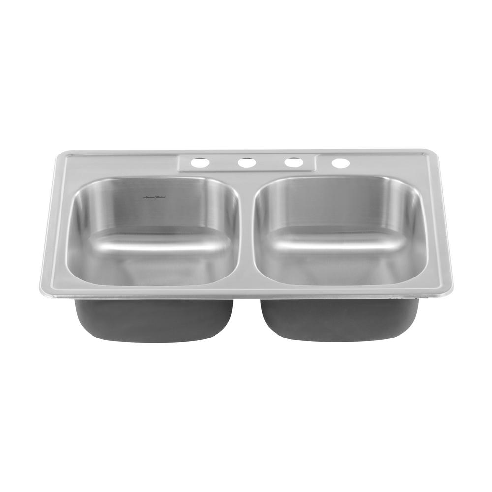 American Standard Colony Pro Drop In Stainless Steel 33 3 Hole Double Bowl Kitchen Sink Kit