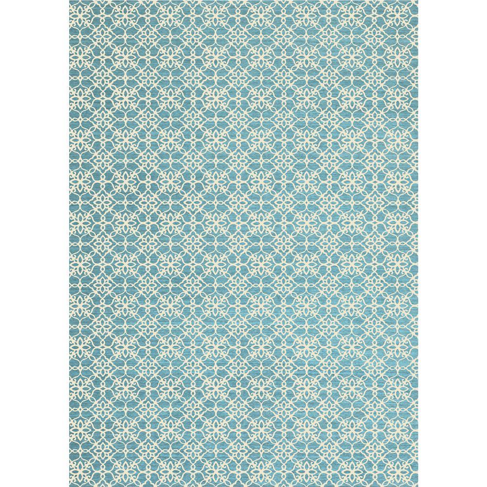 Ruggable Washable Fl Tiles Aqua Blue 5 Ft X 7 Stain Resistant Area