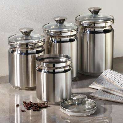 Gourmet 4-Piece Stainless Steel Covered Canister Set