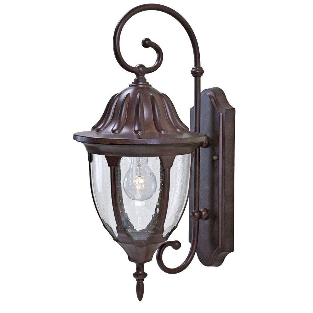Acclaim lighting suffolk collection 1 light burled walnut outdoor wall mount fixture