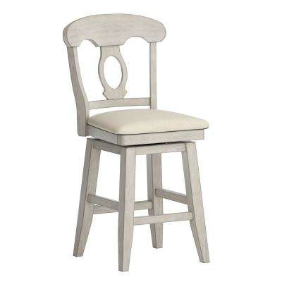 24 in. H Antique White Napoleon Back Swivel Chair with Beige Linen Seat