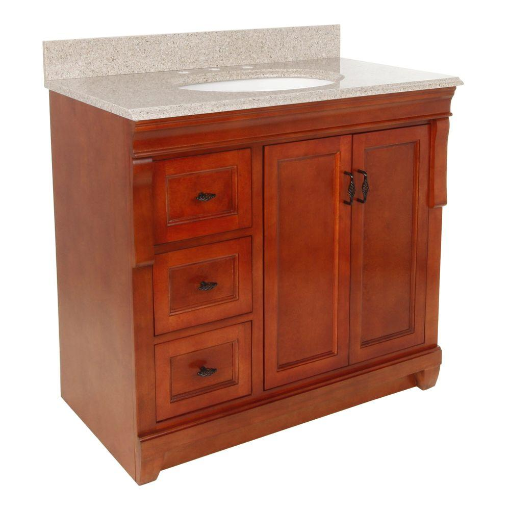 Foremost Naples 37 in. W x 22 in. D Bath Vanity in Warm Cinnamon with Left Drawers with Granite Vanity Top in Beige