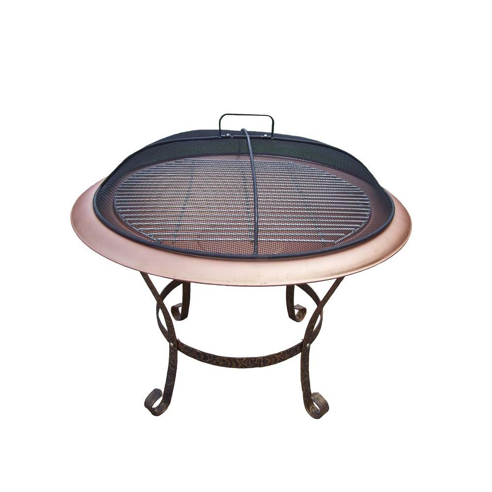 Oakland Patio Fire Pit with Grill, Brown/Antique Bronze