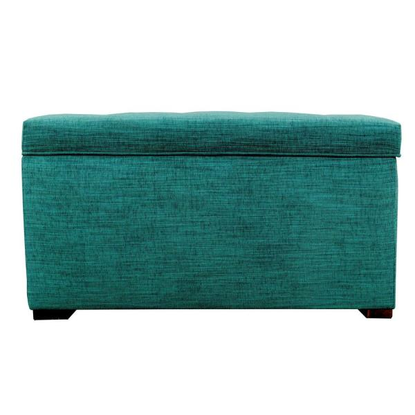 MJL Furniture Designs Angela Lucky Turquoise Button Tufted Upholstered Storage Trunk