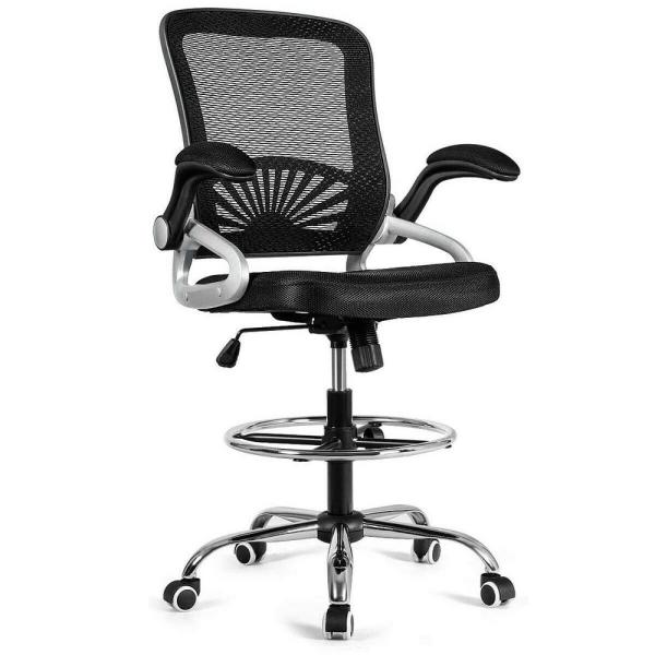 Black Adjustable Height Office Chair with Flip-Up Mesh
