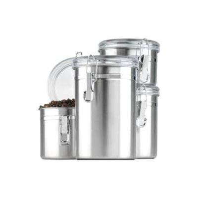 4-Piece Stainless Steel Canister Set Clear Lids