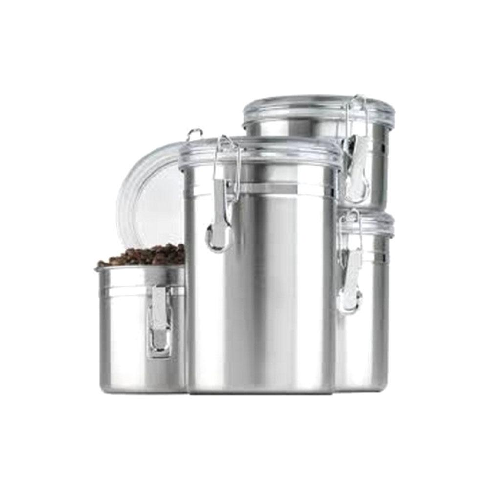 Anchor Hocking 4-Piece Stainless Steel Canister Set Clear Lids, Silver These Stainless Steel canisters with clamp top clear lids will add a touch of class to your countertop or pantry and allow you to see when you need to re-stock. Perfect in your kitchen to coordinate with your stainless appliances. Set of four.