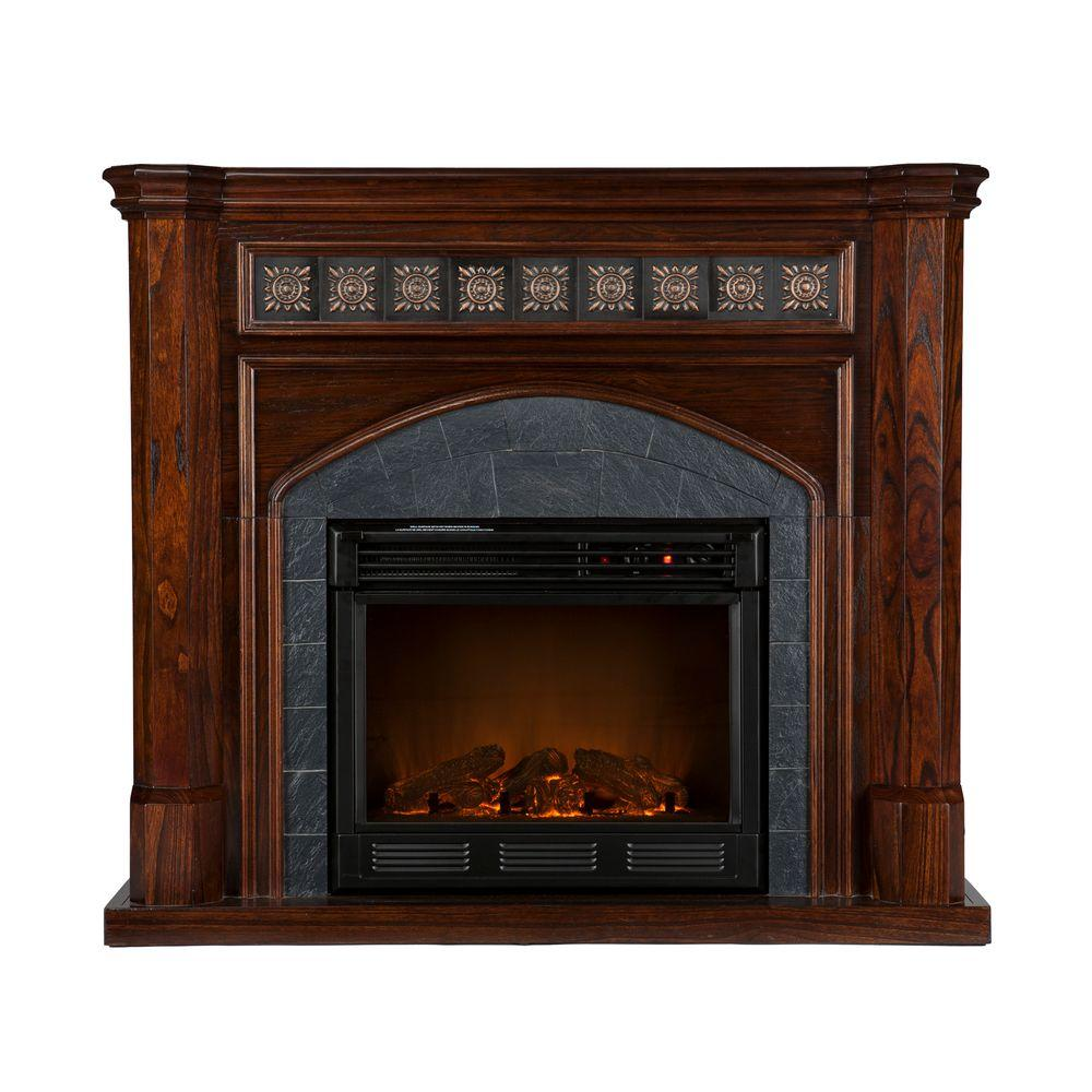 Southern Enterprises Lake Austin 45 in. Electric Fireplace in Espresso with Faux Slate-DISCONTINUED