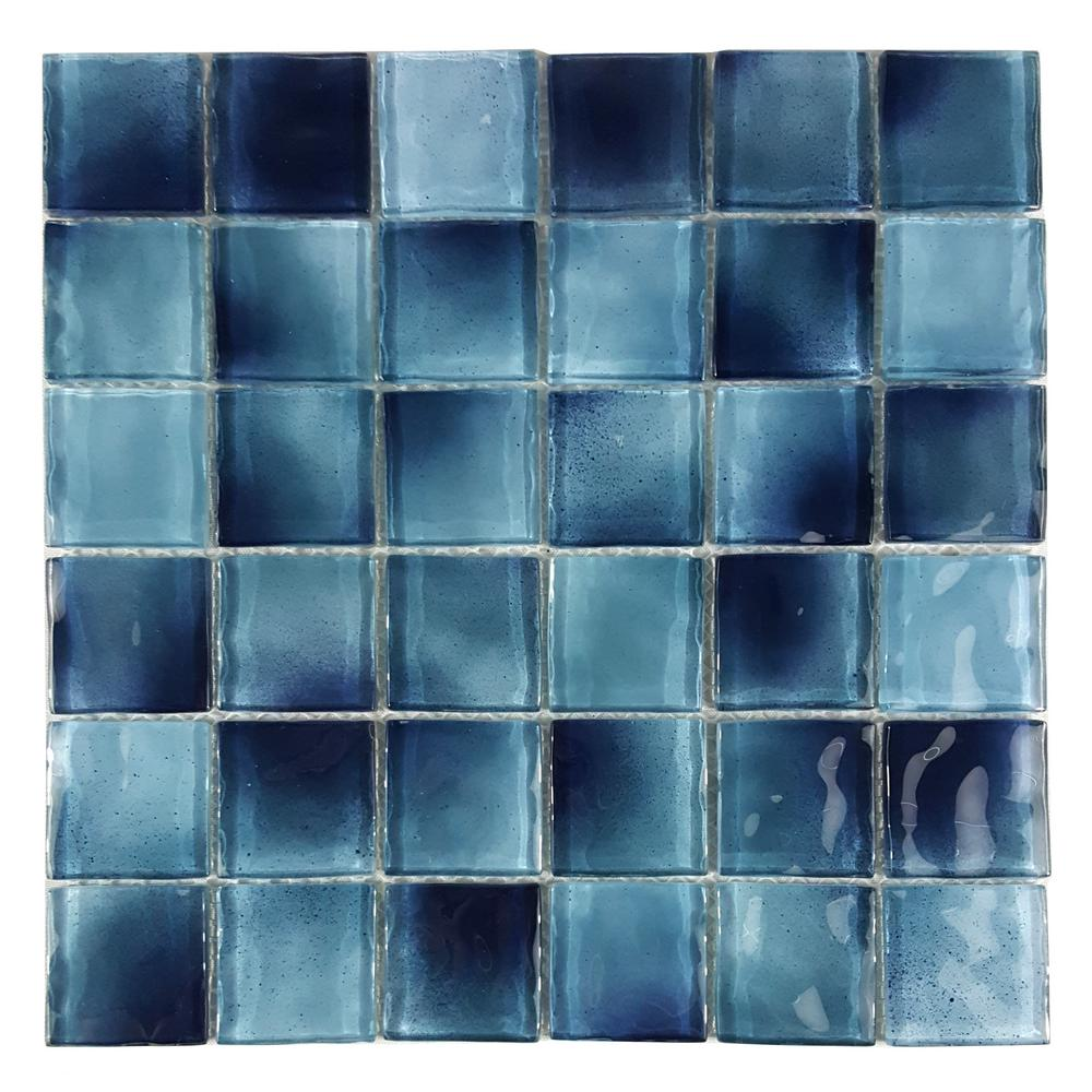 Abolos Watermark Caribbean Blue Square Mosaic 2 In X 2 In Glossy