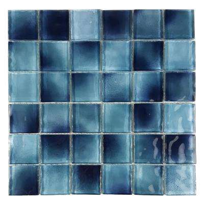 Watermarks Blue Caribbean 10.78 in. x 10.78 in. 6.35 mm Glass Mosaic Tile