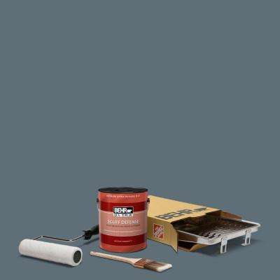 1 gal. #N480-6 NYPD Ultra Extra Durable Flat Interior Paint and 5-Piece Wooster Set All-in-One Project Kit
